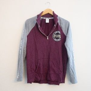 Maroon & Gray VS Pink Half Zip Jacket